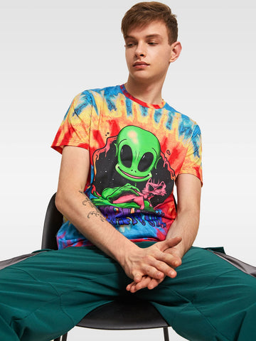 Men Letter and Alien Print Tie Dye Top