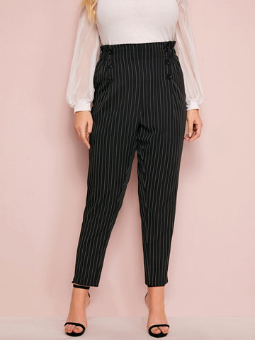 Plus Paperbag Waist Double Breasted Striped Pants