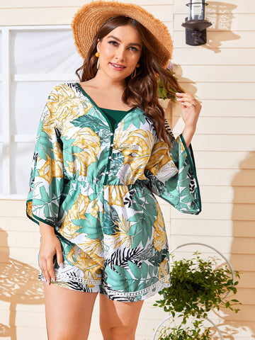 Plus Knot Back Contrast Binding Tropical Romper