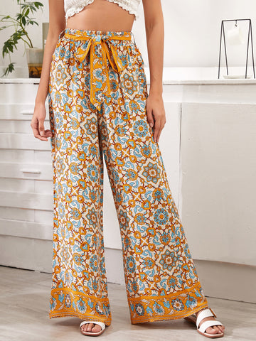 Floral & Tribal Print Belted Wide Leg Pants