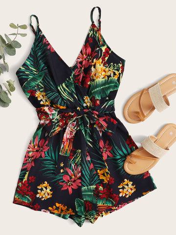 Self Belted Tropical Print Slip Romper