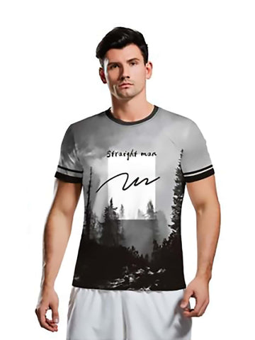 Men Landscape And Letter Graphic Tee