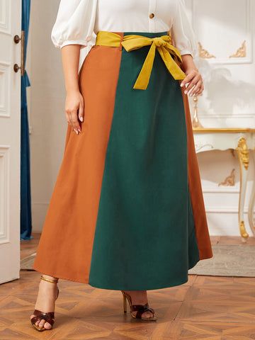 Plus Colorblock Belted Maxi Skirt
