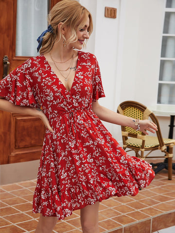 Ditsy Floral Surplice Front Dress