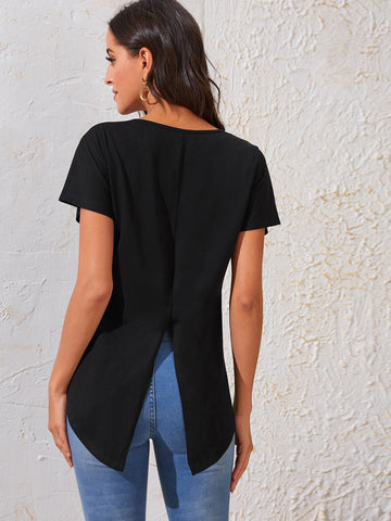 Batwing Sleeve Split Back High Low Tee