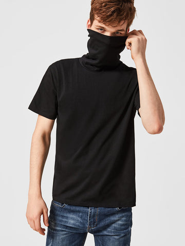 Men High Neck Striped Back Tee