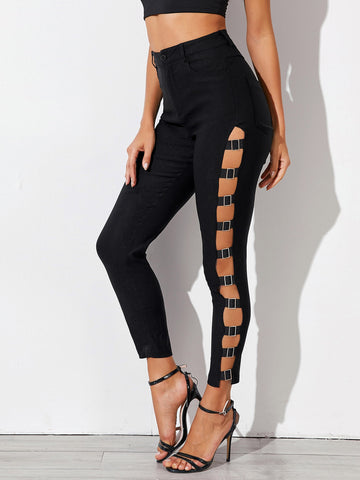Buckle Cut Out Skinny Pants