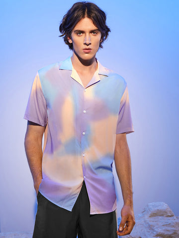 Men Revere Collar Tie Dye Shirt