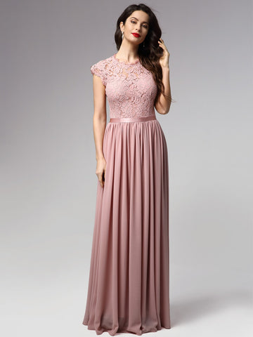 Floral Lace Bodice Ribbon Waist Prom Dress