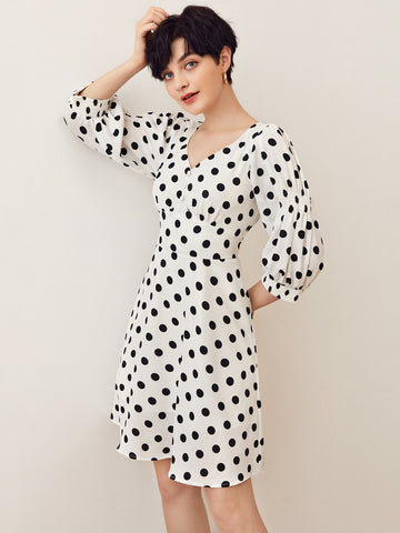 Button Front Polka Dot Print Dress