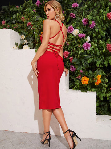 Lace Up Backless Bodycon Dress
