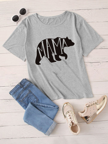 Bear & Letter Graphic Tee