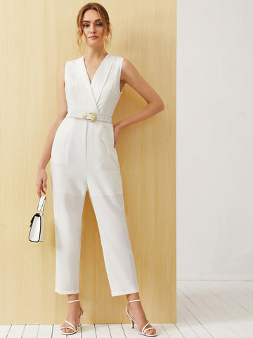 Shawl Collar Self PU Leather Belted Sleeveless Jumpsuit