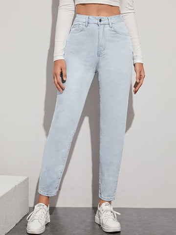Light Wash High-Waisted Mom Jeans