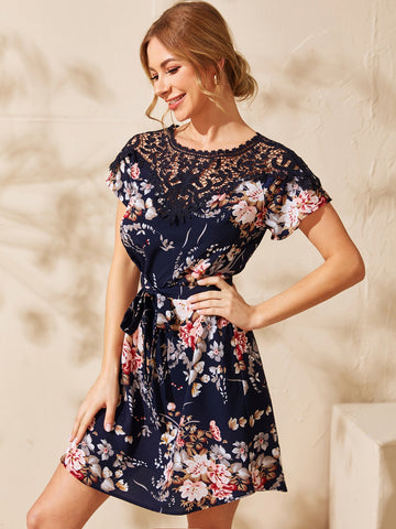 Guipure Lace Yoke Self Belt Floral Dress