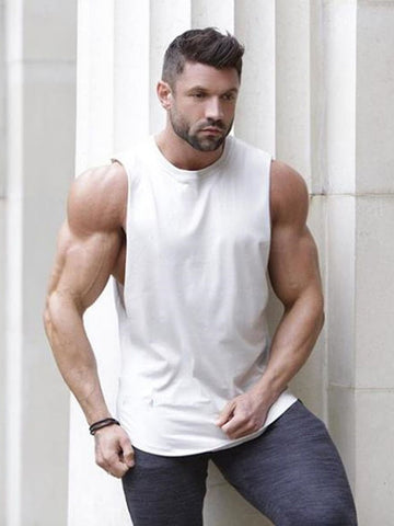 Men Contrast Panel Muscle Tee
