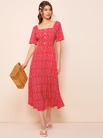 Square Neck Button Front Ditsy Floral Dress