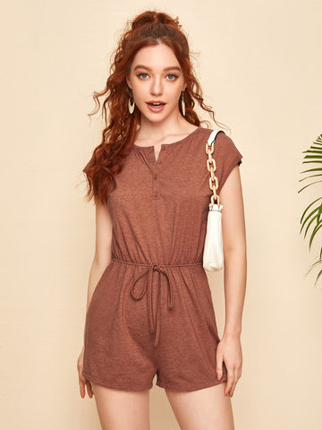 Knot Detail Half Placket Romper