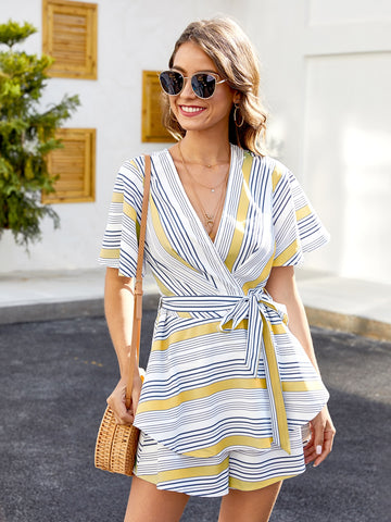 Striped Surplice Tie Back Ruffle Trim Romper