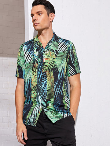 Men Tropical Leaf Print Shirt