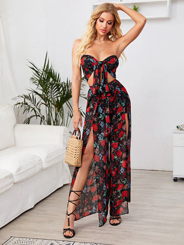 Tie Front Floral Print Tube Top & M-slit Pants Set