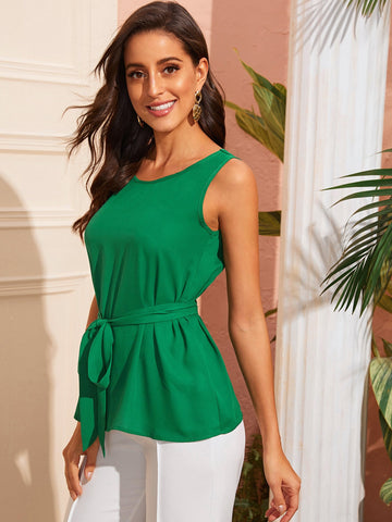 Solid Sleeveless Belted Top