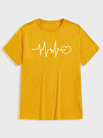 Men Heart Graphic Round Neck Tee