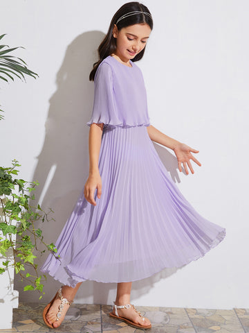 Girls Accordion Pleat Maxi Cape Dress