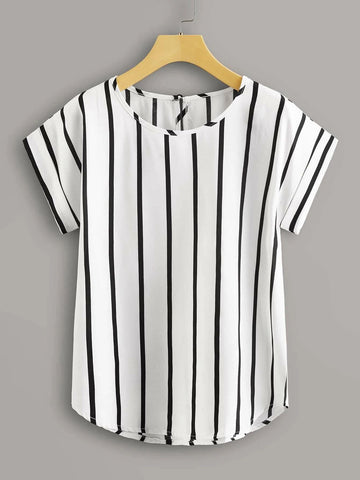 Plus Striped Keyhole Back Blouse