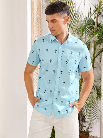 Men Allover Palm Tree Print Shirt