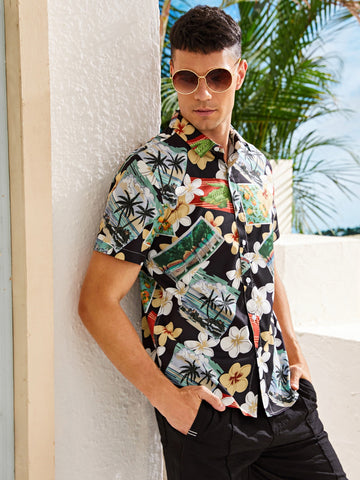 Men Tropical Floral Button Up Shirt