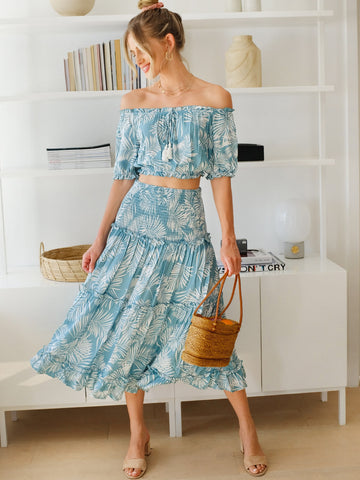 Off Shoulder Tassel Detail Crop Top & Shirred Panel Skirt Set