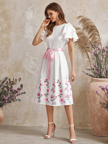 Layered Flutter Sleeve Floral Print Belted Dress
