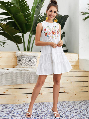 Floral Embroidered Ruffle Hem Smock Dress