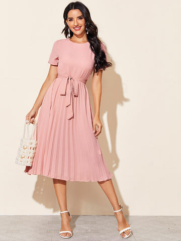 Split Back Self Belted Pleated Dress