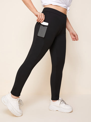 Plus High Waist Solid Leggings With Phone Pocket