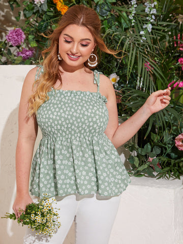 Plus Ditsy Floral Ruffle Hem Shirred Cami Top