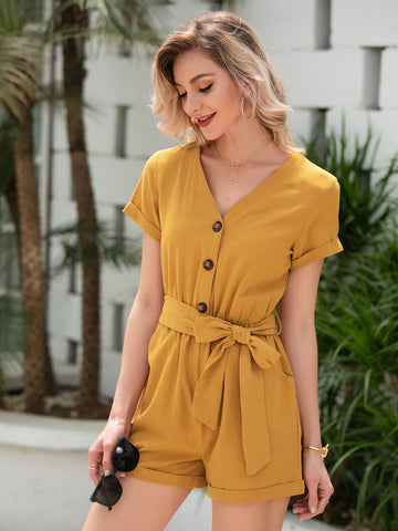 Button Front Self Tie Romper