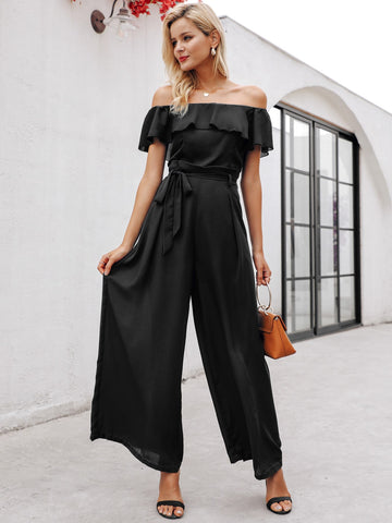 Ruffle Off Shoulder Belted Wide Leg Jumpsuit
