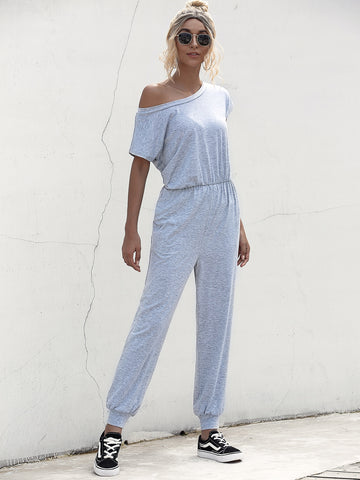 Solid Button Keyhole Jumpsuit