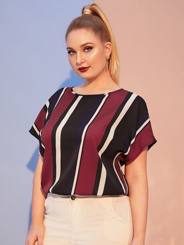 Plus Batwing Sleeve Striped Top | Amy's Cart Singapore