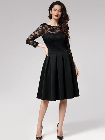Sheer Yoke Lace Bodice Boxy Pleated Dress