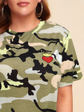 Plus Embroidered Detail Camo Tee