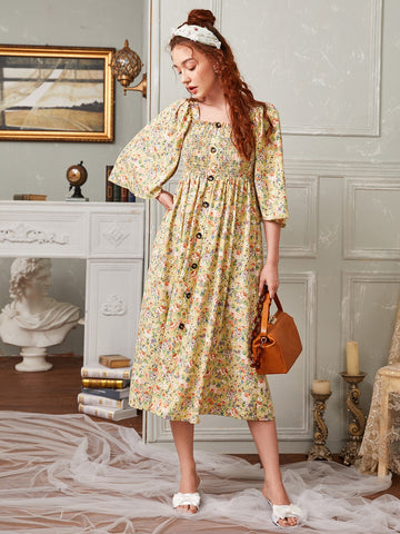 Bell Sleeve Buttoned Front Shirred Bodice Floral Dress