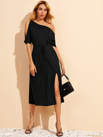 Asymmetrical Neck Split Thigh Drawstring Fitted Dress