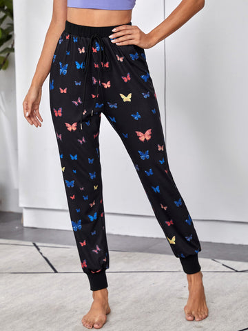 Knot Front Butterfly Print Sweatpants