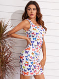 Allover Butterfly Print Bodycon Dress