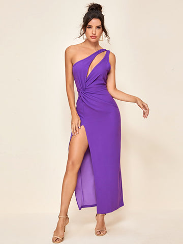 Split Thigh One Shoulder Cut Out Twist Dress
