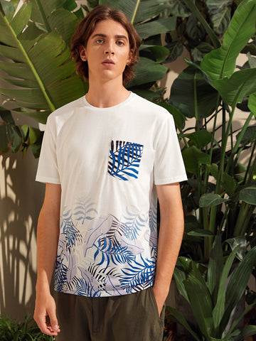 Men Tropical Print Pocket Patched Tee
