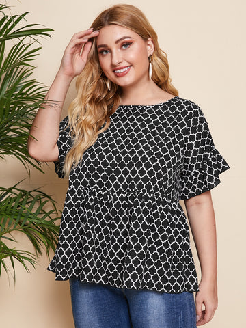 Plus Allover Print Babydoll Blouse